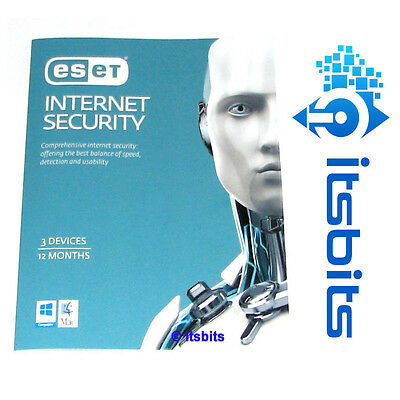 ESET INTERNET SECURITY 1 YEAR x 3 DEVICES  ESD + POSTED PRODUCT KEY WIN 10/8/7