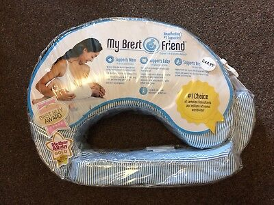 New My Brest Friend Nursing Pillow support - Blue & white stripped