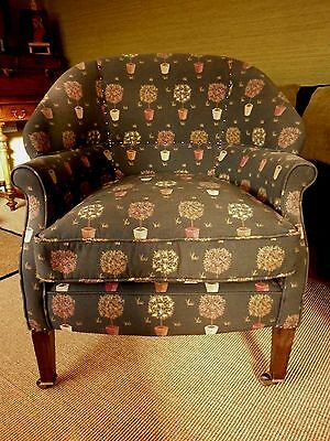 Edwardian Smokers Club Chair.Traditionally Upholstered John Lewis Tapestry