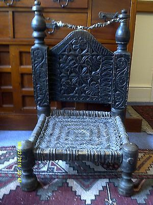 Swati low chair antique carved wood from Swat Valley Pakistan