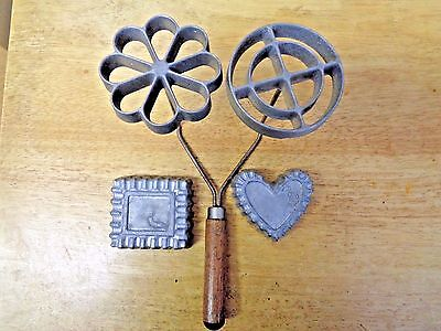 Vintage Double Set Rosette & Timbale Iron Cookie Patty Shell form 4 molds