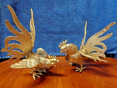 Pair(2 )Vintage Pewter Rooster Chicken Figurine Farm Country Miniature