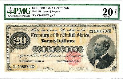 1882 $20 Gold Certificate, Fr. 1178, Very Fine (VF-25) Condition (PMG)
