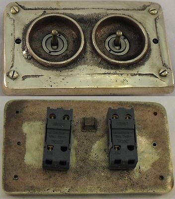 NEW Bronze Vintage Industrial 2 Gang Faceplate (to Wall Boxes) - BS EN Approved