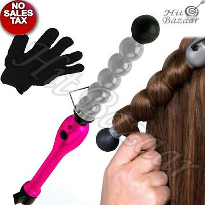 Bubble Hair Curling Iron Wand Ceramic Pearl Wave Curler Styling Pink Roller