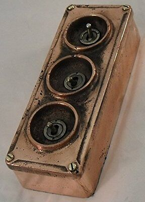 NEW Solid Copper Vintage Industrial 3 Gang Light Switch - BS EN Approved