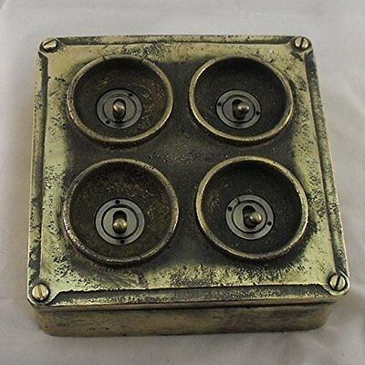 NEW Brass Vintage Industrial 4 Gang Light Switch - BS EN Approved