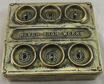 NEW Bronze Vintage Industrial 6 Gang Light Switch - BS EN Approved