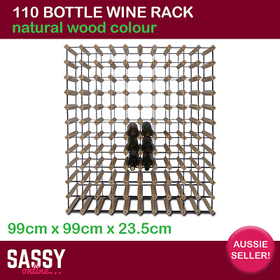 110 Bottle Wine Rack with Metal Frame Cellar Storage System 99cm Natural Wood