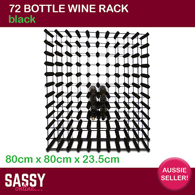 72 Bottle Wine Rack with Metal Frame Cellar Storage System 80cm Black