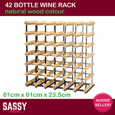 42 Bottle Wine Rack with Metal Frame Cellar Storage System 61cm Natural Wood