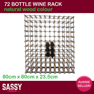 72 Bottle Wine Rack with Metal Frame Cellar Storage System 80cm Natural Wood