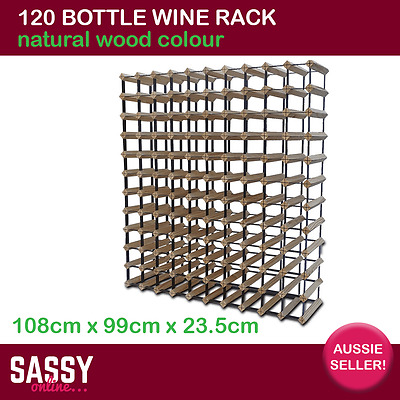 120 Bottle Wine Rack with Metal Frame Cellar Storage System 108cm Natural Wood