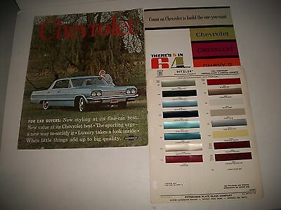 1964 Chevrolet Passenger Car Brochures & Paint Sample Sheet Originals