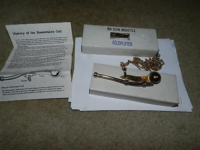 Navy Bo'sun Whistle Boatswain Call Gold Plated With Original Box And Instruction