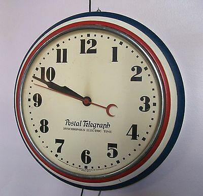 """Antique 20"""" Postal Telegraph Advertising Wall Clock Sx 15 Vintage Red White Blue"""