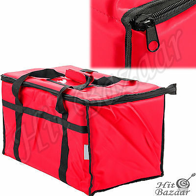 INSULATED FOOD DELIVERY Bag Thermal Pan Carrier Travel Zippered Carry Warmer Red