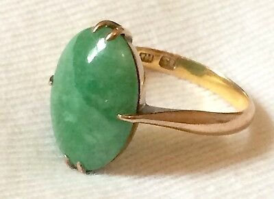 Vintage Antique Chinese 14k Gold & Green White Jade Cabochon Ring: Size O (15.5)