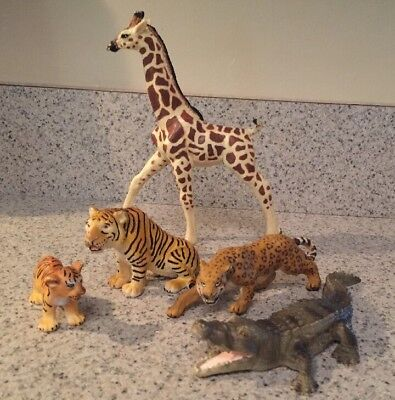 Lot of 5 Schleich Figures Including Tiger 14096 RETIRED 1993 and cub