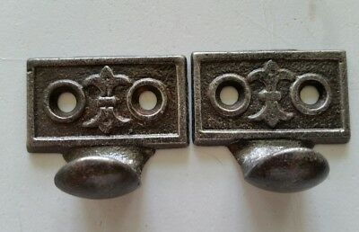 Pair Vintage Antique Victorian Cast Iron Sash Lift Window Lift (#504)