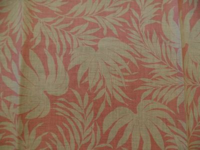 Vintage Full Feedsack Fabric, Pink With Large, White Fern Leaves Allover