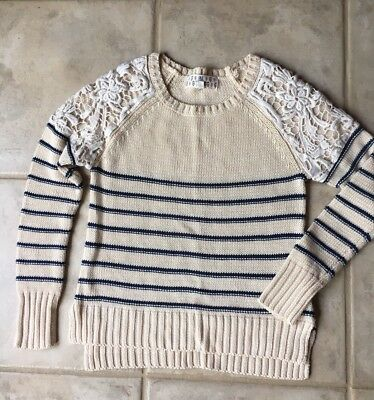 Girls Pink Republic Striped Sweater, Size 7/8 Small, Cream Lace Details GUC Fall