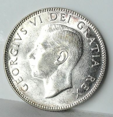 1952 Canada, 25 Cents, Mint State Uncirculated, Silver, Low Relief
