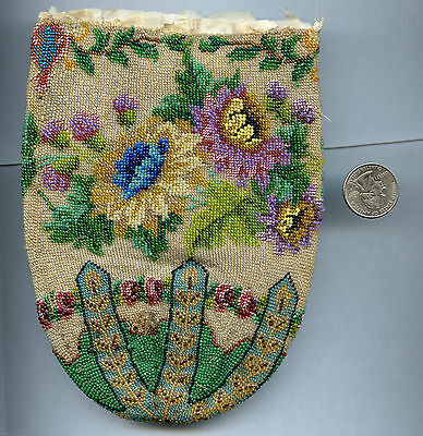 Antique Vintage Hand Bead Beaded Flower Purse Handbag