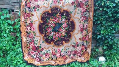 Vintage Victorian Chenille Rug Carpet Tablecloth Rose Floral Shabby Chic