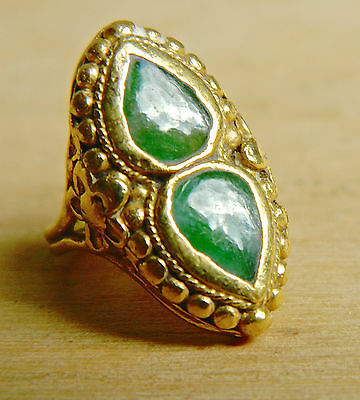 SIGNED Antique Chinese 24K Solid Gold ring w/Green Jadeite Gemstones  28% OFF!!!