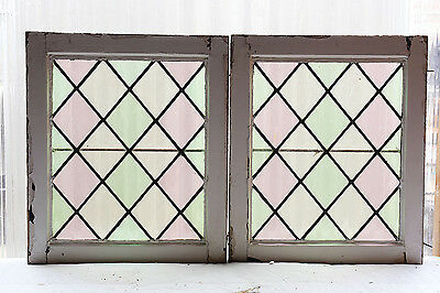 Pair of Antique Stained Glass Windows Simple & Classic Three Color Design (3043)