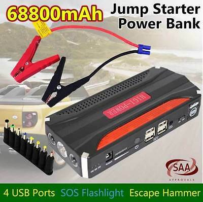 68800mAh Pack Car Jump Starter Emergency Charger Booster Power Bank Battery 4USB