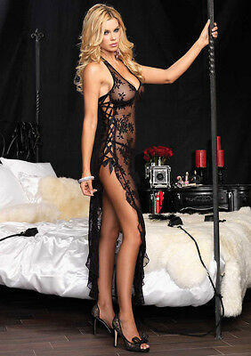 Lingerie-Abito Lungo: 2Pcs Halter Gown And Thong Black Os