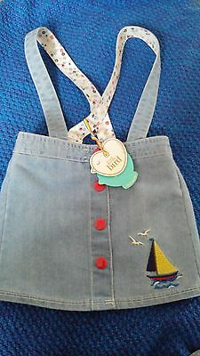 Little Bird Retro Denim Boat Embroidered Skirt / Braces