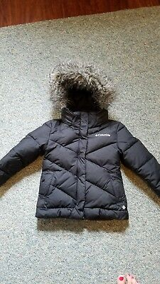 Columbia girls size 5 black Hooded down filled winter coat