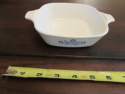 Corning Ware Square For Range And Microwave P-41-B White Blue Flowers 1 3/4 Cup