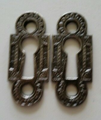 Pair  Restored Decorative Vintage Victorian Key Hole Covers Cast Iron (C)