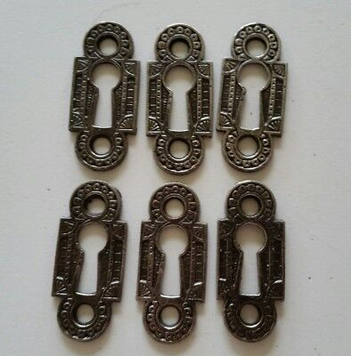 6 matching  RESTORED DECORATIVE VINTAGE VICTORIAN KEY HOLE COVERS CAST IRON (D)