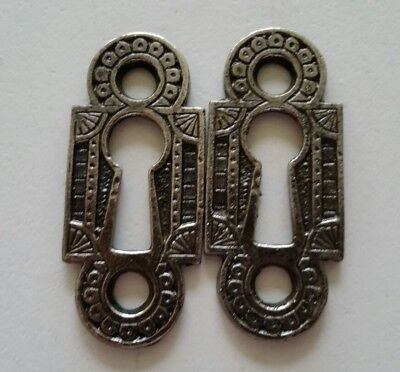 Pair Restored Decorative Vintage Victorian Key Hole Covers Cast Iron (G)