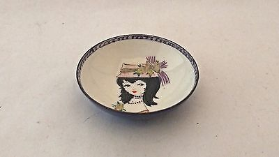 Steinbock Email Austria Enamel Small Pin / Nut Mint Dish Bowl Black Haired Girl