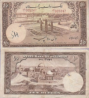 Pakistan 10 Rupees Banknote (1951) Very Fine Condition Cat#13-5247