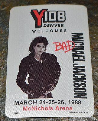 1988 MICHAEL JACKSON RADIO PROMO PASS BAD TOUR Denver Cloth Satin Mint