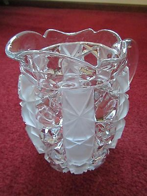 """Lead Cut Crystal Glass Pitcher with Etched Vertical Stripes 7.5"""" tall"""
