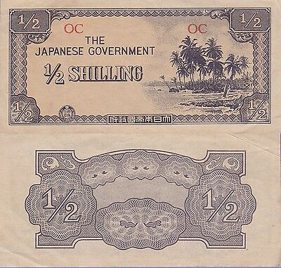 Oceania-Japan 1/2 Shilling Banknote (1942) Choice Extra Fine Condition Cat#1-A