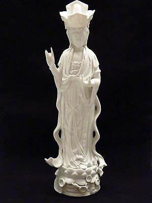 Kwan Yin Blanc de Chine Porcelain Statue Vintage Huge Hollywood Regency