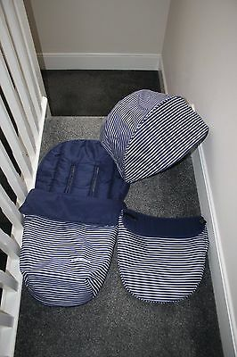 Mothercare Xpedior pram COLOUR PACK - hood, apron, footmuff / liner navy stripe