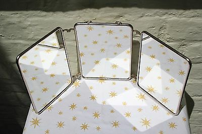 Vintage retro French trifold or triptych folding barber travel or shaving mirror