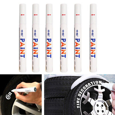 6PCS Waterproof Marker Pen Permanent Paint Car Tyre Tire Tread Rubber Universal