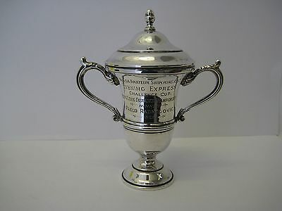 Rare Sterling Silver Trophy Cup Won By Olympic Swimmer Paolo Radmilovic Date1925