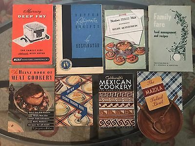 Vintage 8 MID CENTURY RECIPE Books, BOOKLETS Pamphlets MEXICAN, Deep Fry, BAKING